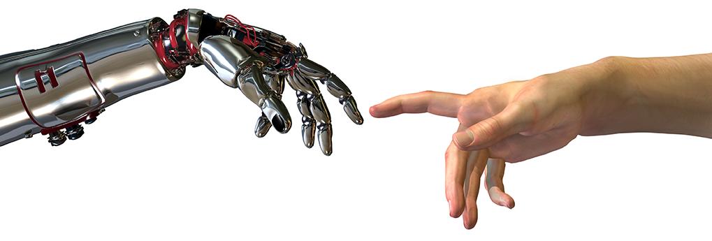 online hand touching offline hand.