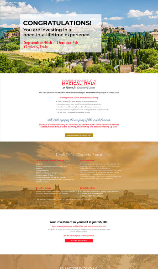 Italy Retreat Landing Page